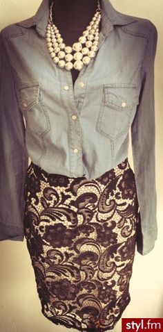 I never would have thought I'd like it, but I do - blue jean shirt, lace skirt, pearl necklace