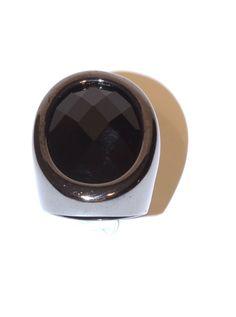Anel Metal Preto com Pedra Preta Oval — Dáli Acessórios