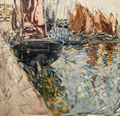 """From Emily Carr studied in Paris and then in Brittany under the tutelage of Harry Phelan Gibb and, later, the New Zealand artist Frances Hodgkins. Frances Hodgkins, """"Boats by the Harbour Wall,"""" c. Auckland Art Gallery Toi o Tāmaki. Auckland Art Gallery, Emily Carr, Group Of Seven, Amazing Paintings, Impressionist Paintings, Canadian Artists, Historical Sites, Van Gogh, Online Art"""