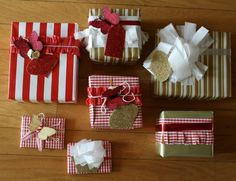 DIY Cute Christmas Gift Wrapping Ideas with Red-White Checkered & Gold Stripe Paper Wrappings and Butterfly Toppers, Furniture & Decoration, 1000x767 pixels