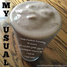 My favorite / usual Shakeology!  It is SO good and SO healthy!  I call it Chocolate Love :)