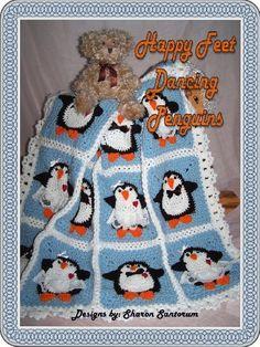 Dancing Boy and Girl Penguin baby afghan or blanket crochet pattern by Sharon Santorum, http://www.amazon.com/gp/product/B002UKONSS/ref=cm_sw_r_pi_alp_zVg3pb1MGQGM3
