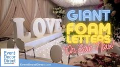 EventDecorDirect.com is the #1 supplier of custom-made foam letters at factory-prices. Choose from a huge variety of styles and sizes. Our custom-made giant foam letters are ideal for weddings, events, parties, corporate events, banquet halls, event centers and much more. Pro Tip: They LOOK AMAZING when you project light on them! Shop Now at EventDecorDirect.com | Questions? Call Us Today 1-800-914-3538 Romantic Wedding Decor, Wedding Ceremony Decorations, Event Planning Tips, Party Planning, Sunflower Room, Disco Party Decorations, Event Decor Direct, Foam Letters, Graduation Theme