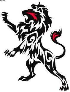 Tribal Black And Red Lion Tattoo Sample