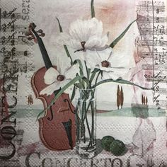 Concerto - Musical Portrait Beverage size napkins are a good size to use when making a découpage candle. It is something I haven't tried yet! The results are really beautiful, almost surprising to me how naturally the image transfers to a candle.