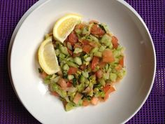 Israeli Chopped Salad – Simply chop up tomatoes, cucumbers, celery, and parsley, and toss with a teaspoon of EVOO, a tablespoon of lemon juice, and a pinch of Kosher salt. So easy and amazingly delicious!