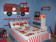 Fire Truck Boys Bedroom, Fire truck themed bedroom. I painted the mural and then my husband made the ladder headboard., Boys Rooms Design