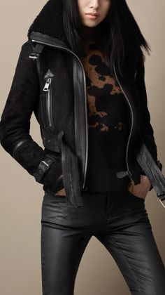 Burberry Black Oversize Collar Shearling Jacket