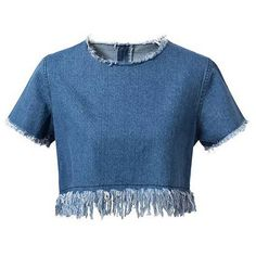 Chicnova Fashion Cropped Denim T-shirt (€16) ❤ liked on Polyvore featuring tops, t-shirts, crop top, shirts, blouses, blue denim shirt, blue t shirt, tee-shirt, denim crop top and round neck t shirt