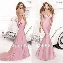 2014 Top Fancy Pink Pearl Beaded Illusion Sweetheart And Open Back Long Sexy Mermaid Pink Prom Dress(China (Mainland))