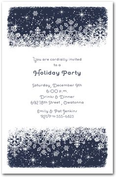 Christmas Invitations: Midnight Snowflakes Holiday Party Invitations