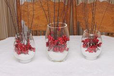 DIY Snow and Cranberries Holiday Centerpiece by The Country Chic Cottage - Do More for Less