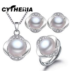 CYTHERIA 100% natural Pearl set,  jewelry sets  silver pearl pendant necklace and earrings 3 color for women gift,2016 new