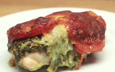 Baked Pesto Chicken - BuzzFeed - 4 ingredients: Chicken breasts, pesto, roma tomatoes & mozzarella cheese.  Cook for shorter time.