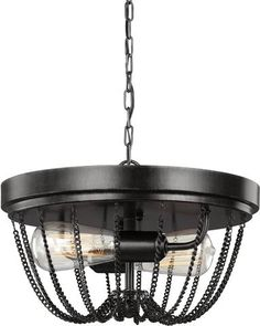 Two worlds come together in the urban chic Kelvyn Park lighting collection by Sea Gull Lighting. The classic Empire style silhouette is updated by draping industrial-inspired, metal chain to create th