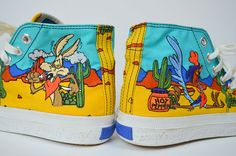 Must have! Epic early 90s Looney Tunes shoes! Done in a brightly colored canvas, embroidered with Wile E Coyote and The Roadrunner! Lace up front. THATS ALL FOLKS on soles! ©1994 ♥  Excellent Vintage Condition, some light marks on exterior, but almost no signs of wear! ♥  SIZE: 6.5 LABEL: 6.5 BRAND: KEDS Measurements: Width of bottom of sole: 3 Length of sole: 9.25 Platform: 1 *Any overpayment exceeding $4 USD will be refunded back to your account.  *All items are measured in US inches…