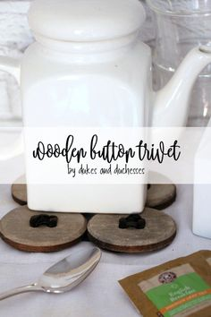 wooden button trivet