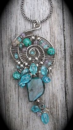 Blue Green Stone Wire Wrapped Pendant Necklace by LoneRockJewelry, $110.00