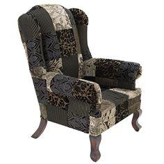 Πολυθρόνα βελούδινη με patchwork σε γκρι/μπεζ