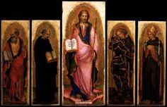 GIAMBONO, Michele Polyptych of St James  c. 1450 Tempera on panel, 109 x 44 cm (central panel), 88 x 29 cm (side panels) Gallerie dell'Accademia, Venice  Originally from the Scuola del Cristo at the Giudecca, the polyptych is composed of five panels, the central one of which is of St James the Greater with St John the Evangelist and St Filippo Benizzi (one of the saints of the Order of Servites) on the left, and St. Michael the Archangel and St. Louis of Toulouse on the right.
