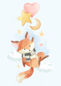 Cute fox holding balloons in the sky Premium Vector Fuchs Illustration, Cute Illustration, Animal Drawings, Cute Drawings, Pet Fox, Poster Prints, Art Prints, Animal Posters, Fox Art