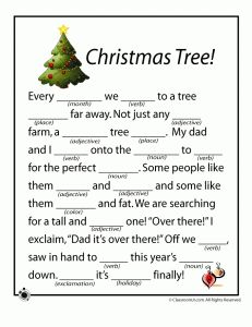 Free printable Christmas themed mad libs for kids
