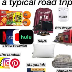 Road Trip Checklist, Travel Packing Checklist, Road Trip Packing List, Travel Bag Essentials, Road Trip Essentials, Road Trip Hacks, Packing Lists, Road Trippin, Travel Aesthetic