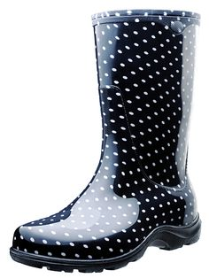 Black & White Polka Dot Rain Boots // Sloggers - Made in USA