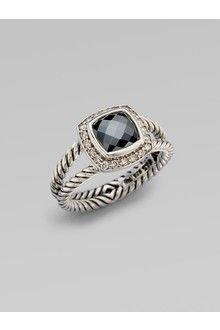 David Yurman Diamond Accented Hematite Sterling Silver Ring in Silver