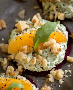 """Beets with arugula """"cheese"""", orange and walnuts. Raw, vegan, a delicious appetizer or snack. Raw Vegan Recipes, Vegan Foods, Vegan Dishes, Vegetarian Recipes, Healthy Recipes, Beet Recipes, Whole Food Recipes, Cooking Recipes, Healthy Snacks"""