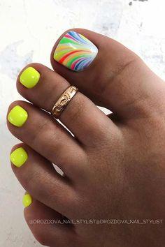 Neon Toe Nails, Pretty Toe Nails, Toe Nail Color, Cute Toe Nails, Feet Nails, Cute Acrylic Nails, Toe Nail Art, Glue On Nails, Cute Toes