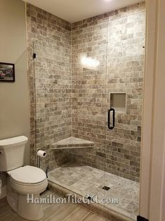 Natural stone is sure to impress like this beauty in downtown Milton, GA. Master Bathroom Shower, Upstairs Bathrooms, Vanity Bathroom, Washroom, Bathroom Design Luxury, Bathroom Design Small, Shower Remodel, Remodel Bathroom, Budget Bathroom