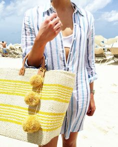 Pompom beach tote and striped beach shirt // Vacation Outfit Idea // Fashion blogger // http://fashionandfrills.com/instagram-round-up-20-looks-in-1-post/