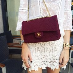 white top and white lace skirt w/ a vintage burgundy Chanel bag