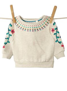 Baby Girls Floral Embroidered Sweat Top