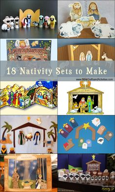 18 Nativity Sets to Make - Links to Images, Patterns, and Tutorials - www.BibleCraftsandActivities.com