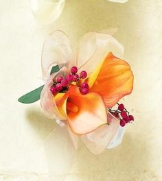 orange calla lily corsage