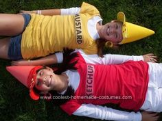 Homemade Ketchup And Mustard Couple Costume: My best friend and I did this all by ourselves in 7th grade and everyone LOVED it! :D Super easy too! (