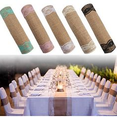 Vintage+Jute+Burlap+Lace+Hessian+Lace+Table+Runner+Natural+Jute+Country+Party+Wedding+Decoration+30*275cm+–+USD+$+8.99