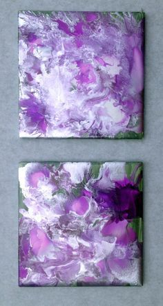 Purple, silver, white and green alcohol ink on ceramic tile.