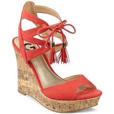 G by Guess Estes Platform Wedge Sandals ($50) ❤ liked on Polyvore featuring shoes, sandals, coral, lace up shoes, coral sandals, laced sandals, tassel shoes and coral shoes