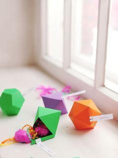 DIY geometric favor boxes...best idea I've seen in a long time!