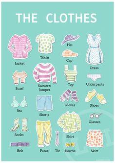 elbiseler #efl #tesol #clothes #teaching #education #vocabulary #classroom #english #poster #etsy #illustration #esl