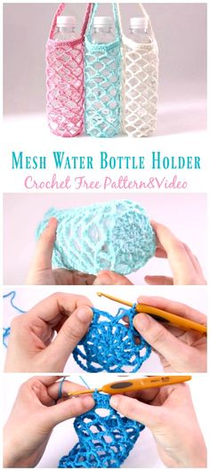 Mesh Water Bottle Holder Crochet Free Pattern Video - Water Bottle Holder Free #Crochet; Patterns