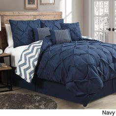 Avondale Manor Ella Pinch Pleat Reversible 7-piece Comforter Set (Navy Blue - King) (Polyester, Ruched)