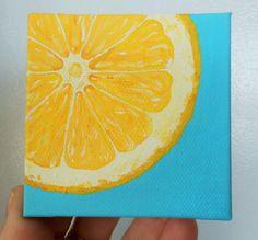 Lemon Slice Painting, Slice of Fruit Art, Mini Painting, Yellow and Turquoise Kitchen Art, Fruit Art, Hand Painted Magnets, Kitchen Painting