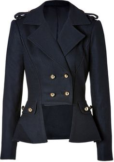 Prabal Gurung Wool Blend Uniform Jacket in Navy on shopstyle.com