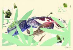 "fashion illustration ""cut the grass 2"" editorial illustration for Fuss Magazine, by Karolina Niedzielska"