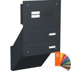 2er Mauerdurchwurf Briefkastenanlage CLASSIC 623-RAL in RAL Farbe - Klingel- Sprechstelle wahlweise mit COMELIT Kamera