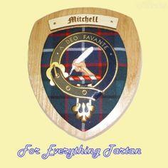 Clan Mitchell Tartan Woodcarver Wooden Wall Plaque Mitchell Crest 7 x 8